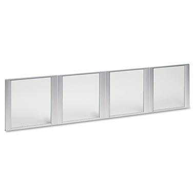 Alera Glass Door Set For Hutch - Silver Frame - 4 Doors/Set