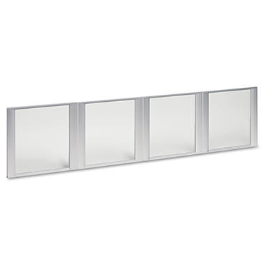 Alera Glass Door Set For Hutch - Silver Frame - 4 Doors/Set