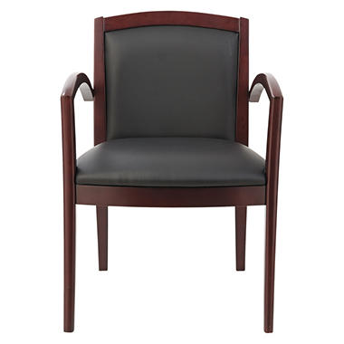 Alera - Reception Lounge Series Guest Chair, Mahogany/Black Leather