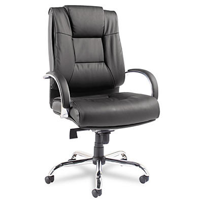 Alera - Ravino Big & Tall Series High-Back Swivel/Tilt Leather Chair, Black