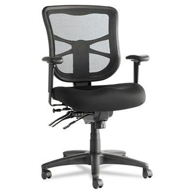 Alera - Elusion Series Mesh Mid-Back Multifunction Chair, Black