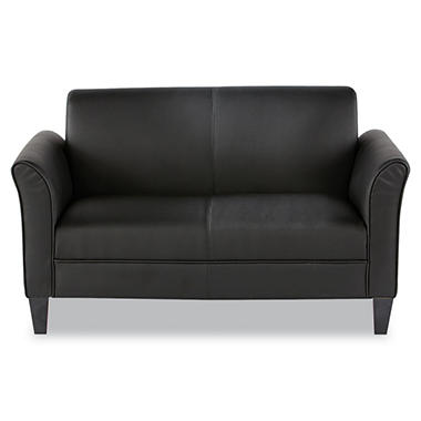 Alera - Reception Lounge Furniture, 2-Cushion Loveseat, 55-1/2w x 31-1/2d x 32h, Black