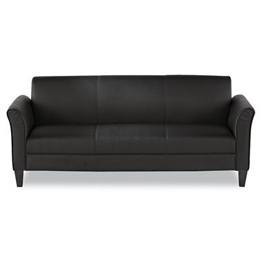 Alera - Reception Lounge Furniture, 3-Cushion Sofa, 77w x 31-1/2d x 32h, Black