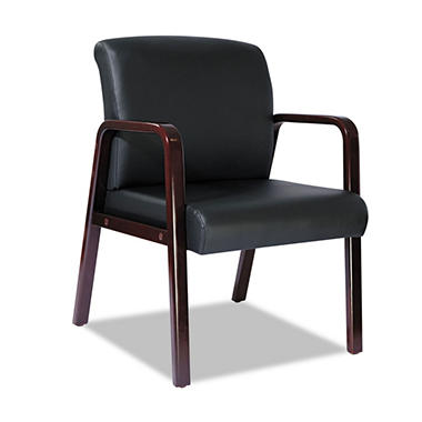 Alera - Reception Lounge Series Leather Guest Chair - Mahogany / Black