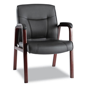 Alera Madaris Leather Guest Chair with Wood Trim, Black/Mahogany