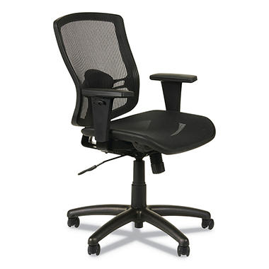 Alera - Etros Series Suspension Mesh Mid-Back Synchro Tilt Chair, Mesh Back/Seat, Black