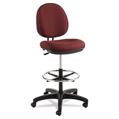 Alera Interval Series Swivel Task Stool, Burgundy