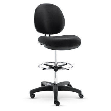 Alera - Interval Series Swivel Task Stool, PVC-Free Faux Leather, Black
