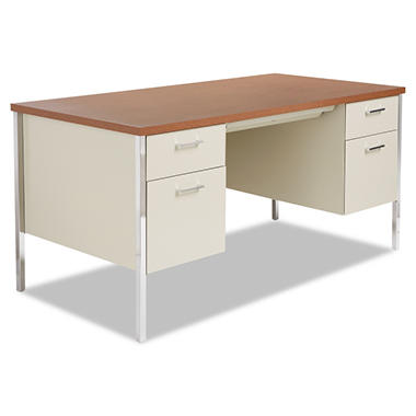 "Alera - Double Pedestal Steel Desk, 60"" - Putty / Oak"