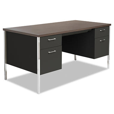 "Alera - Double Pedestal Steel Desk, 60"" - Black / Walnut"