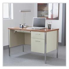 Alera - Single Right Pedestal Steel Desk - Metal Desk - Cherry/Putty