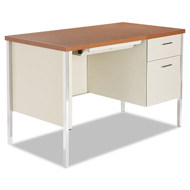 Alera Single Right Pedestal Metal Desk, Cherry/Putty