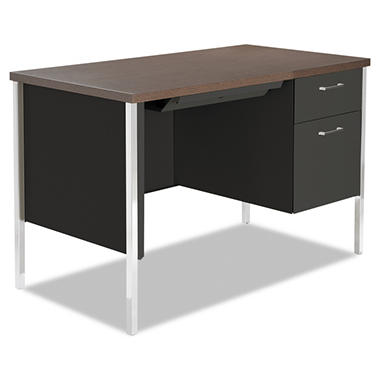 Alera - Single Pedestal Steel Desk, Walnut/Black