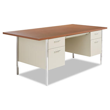 Alera - Double Pedestal Steel Desk - Metal Desk - Cherry/Putty