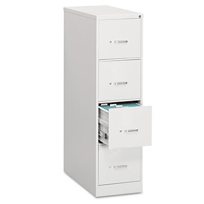 "OIF - Vertical File Cabinet, 4-Drawer, Economy, Legal, 26-1/2"" Depth - Light Gray"