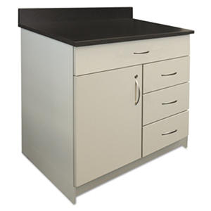 "Alera Plus 36"" 4-Drawer Hospitality Base Cabinet, Gray/Granite Nebula"