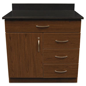 "Alera Plus 36"" 4-Drawer Hospitality Base Cabinet, Cherry/Granite Nebula"