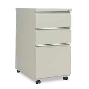 Alera Three-Drawer Mobile Pedestal File with Full-Length Pull - Putty