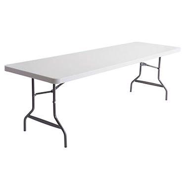 Alera - Resin Rectangular Folding Table, 8 x 2.5 ft - Platinum
