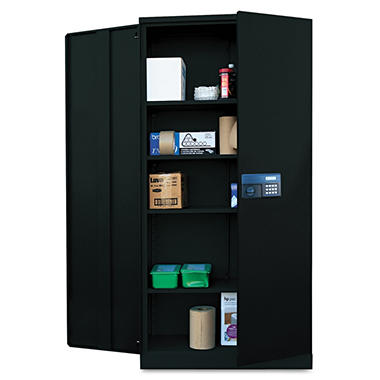 "Alera - Quick-Assemble Electronic Lock Cabinet, 36""W - Black"