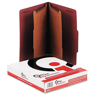 Office Impressions 6-Section Pressboard Classification Folders, Ruby Red (Letter, 10 ct.)