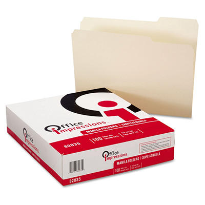 Office Impressions 1/3 Tab File Folders, Manila (Letter, 100 ct.)
