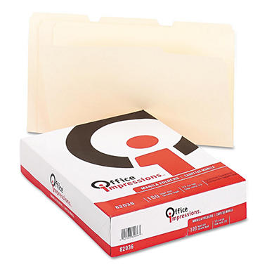 Office Impressions - File Folders, 1/3 Cut Assorted, One-Ply Top Tab, Legal, Manila - 100 Pack