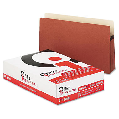 Office Impressions - 5 1/4 Inch Expansion File Pockets, Straight, Legal, Redrope/Manila - 10 Pack