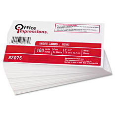 Office Impressions Unruled Index Cards - White - 3 x 5 - 100 ct.