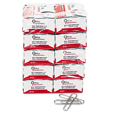 Office Impressions - Paper Clips, #1 Size, Smooth, 100 Count - 10 Pack