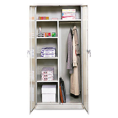"Alera - Assembled 72"" High Wardrobe/Cabinet - Light Gray"