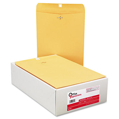 Office Impressions - Clasp Envelopes, 9 x 12, Brown Kraft - 100 Count