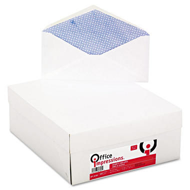 Office Impressions - Security Tinted Business Envelope, V-Flap, #10, White, 500 per Box