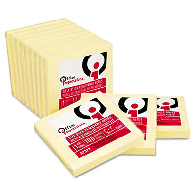 Office Impressions - Yellow Self-Stick Notes - 3 X 3 - 12 100-Sheet Pads/Pack