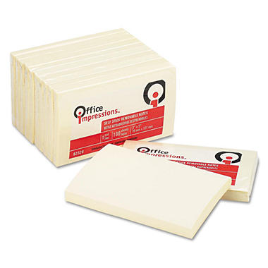 "Office Impressions - Yellow Self-Stick Notes - 3"" x 5"" - 100-Sheet Pads per Pack"