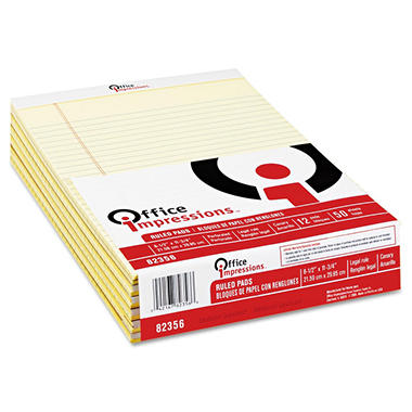Office Impressions - Perforated Pads - Legal Rule - Letter - Canary - 50-Sheet Pads/Pack - Dozen