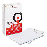 Office Impressions - Perforated Pads - Legal Rule - 5 X 8 - White - 50-Sheet Pads/Pack - Dozen