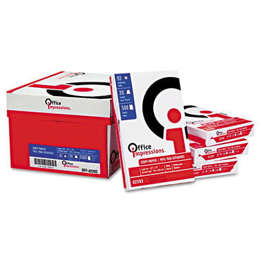 "Office Impressions - Copy Paper, 20lb, 92 Bright, 8-1/2 x 14"" - Case"
