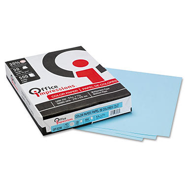 Office Impressions - Colored Paper, 20lb, Blue - Ream