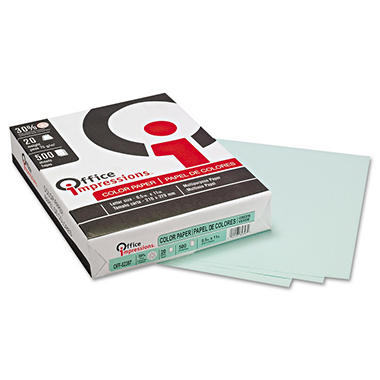 Office Impressions - Colored Paper, 20lb, Green - Ream