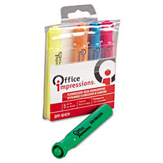 Office Impressions - Desk Highlighter, Chisel Tip, Fluorescent Colors - 5/Set