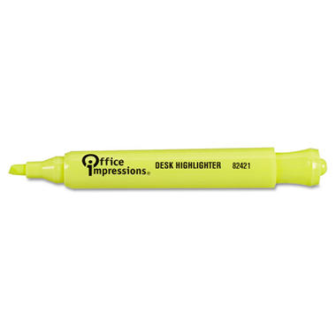 Office Impressions - Desk Highlighter, Chisel Tip, Fluorescent Yellow - 12/Pack