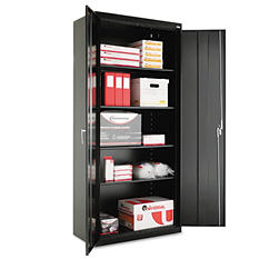 "Alera 78"" x 18"" Assembled Welded Storage Cabinet, Black"