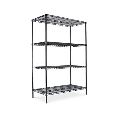 "Alera Wire Shelving Starter Kit - 48""W x 24""D x 72""H - Black - 4 Shelves"