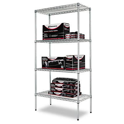 "Alera - Wire Shelving Unit, 36 x 18"", 4 Shelves - Silver"
