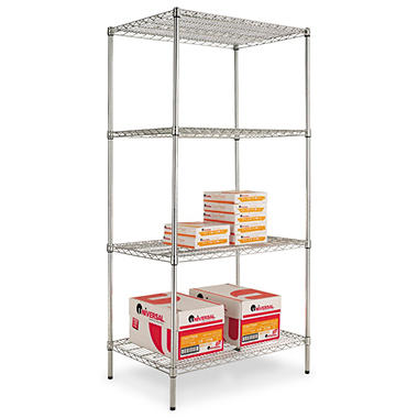 "Alera - Wire Shelving Unit, 36 x 24"", 4 Shelves - Silver"