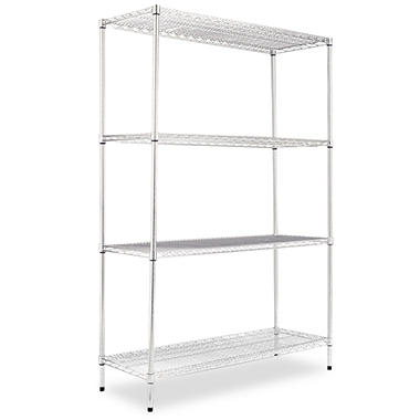 "Alera - Wire Shelving Unit, 48 x 18"", 4 Shelves - Silver"