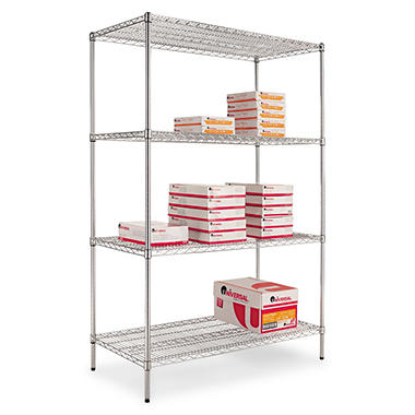 "Alera - Wire Shelving Unit, 48 x 24"", 4 Shelves - Silver"