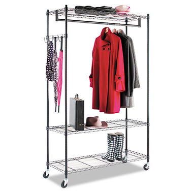 "Alera Wire Shelving Garment Rack - 48 x 18"" - 3 Shelves - Black"