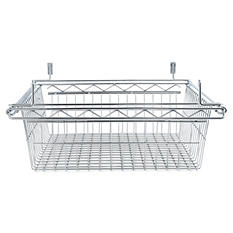 "Alera 18"" x 18"" Sliding Wire Basket For Wire Shelving, Silver"